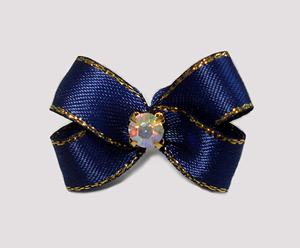 #PBTQ569 Petite Boutique Bow Navy Blue w/ Gold Edge