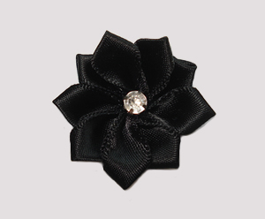 #PP080 - Pretty Petals Barrette - Satin Flower, Midnight Black