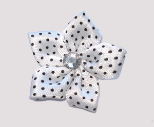 #PP120 - Pretty Petals Barrette - Satin Flower, Chic White