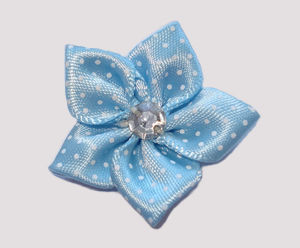 #PP160 - Pretty Petals Barrette - Satin Flower, Baby Blue