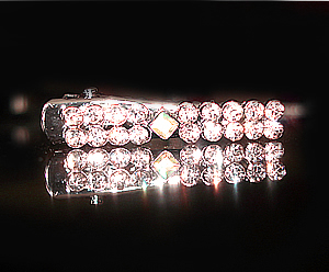 #S0022 - Dog Rhinestone Hair Clip - Sparkly Double Row w/Diamond