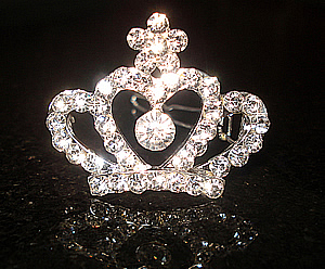 #S0060 - Dog Rhinestone Hair Barrette - Sparkly Rhinestone Crown