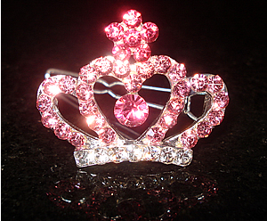 #S0090 - Dog Rhinestone Hair Barrette - Sparkly Pink Crown