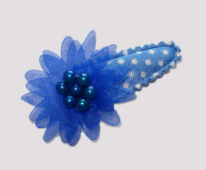 #SC0406 - Dog Snap Clip - Organza Flower, Adorable Blues