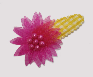 #SC0409 - Dog Snap Clip - Organza Flower, Yellow Gingham w/Pink