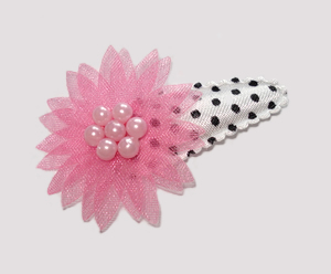 #SC0470 - Dog Snap Clip- Organza Flower, Girly Girl Pink on B/W