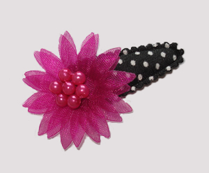 #SC0480 - Dog Snap Clip- Organza Flower, Fabulous Fucshia/Black