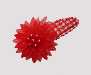 #SC0555 - Dog Snap Clip - Organza Flower, Classic Red