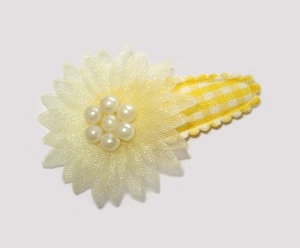 #SC0560 - Dog Snap Clip - Organza Flower, Baby Yellow