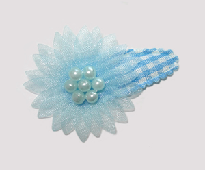 #SC0570 - Dog Snap Clip - Organza Flower, Sweetheart Blue