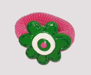 #SF0210 - Scrunchie Fun - Pink Band, Green Flower