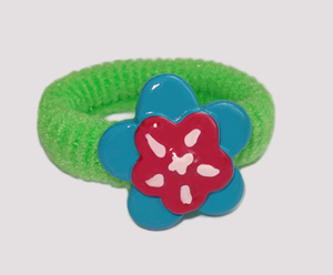 #SF0310 - Scrunchie Fun - Green Band, Blue/Raspberry Flower