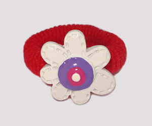 #SF0330 - Scrunchie Fun - Red Band, White Flower