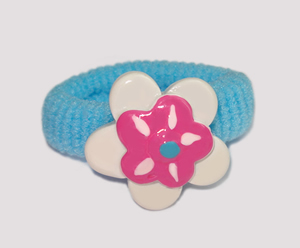 #SF0340 - Scrunchie Fun - Blue Band, White/Pink Flower