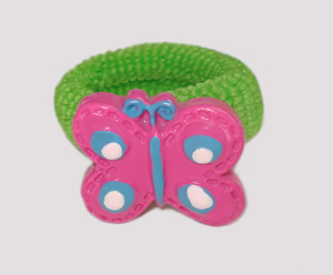 #SF0360 - Scrunchie Fun - Green Band, Pink Butterfly