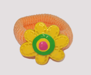 #SF0370 - Scrunchie Fun - Peach Band, Yellow Flower
