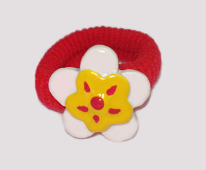 #SF0390 - Scrunchie Fun - Red Band, White/Yellow Flower