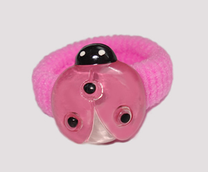 #SF0460 - Scrunchie Fun - Pink Band, Pink Ladybug