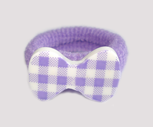 #SF0500 - Scrunchie Fun - Playful Purple & White, Plaid Bow