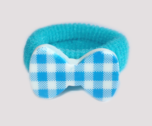 #SF0530 - Scrunchie Fun - Vibrant Lively Blue & White, Plaid Bow
