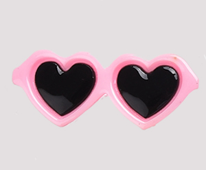 #SG003 - Dog Hair Clip - Sizzlin' Heart Sunglasses - Light Pink