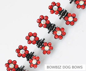 #SW166 - Dog Mini Clip - Sparkly Claw Clip Red Flower