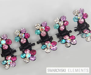 #SW168- Dog Mini Clip- Sparkly Claw Clip Multi-Color Flower