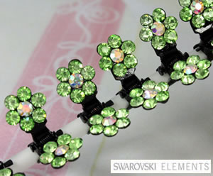#SW180 - Dog Mini Clip - Sparkly Claw Clip Green Flower