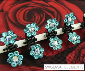 #SW500 - Dog Mini Clip - Sparkly Claw Clip Light Blue Flower