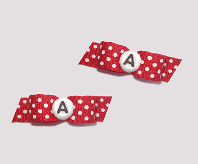 #T8786 - 3/8 Dog Bow - Classic Red, White Dots, Custom Letter