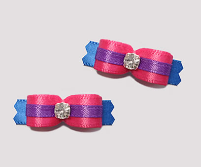 "#T8791 - 3/8"" Dog Bow - Hot Pink/Blue, Purple Accent, Rhinestone"