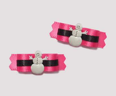 "#T8798 - 3/8"" Dog Bow - Hot Pink/Black, Sassy Snowman"