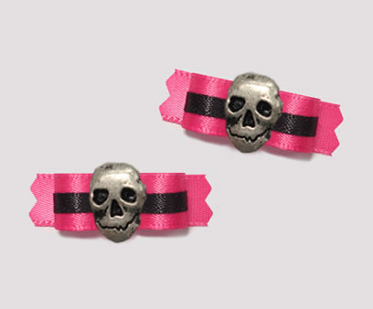 "#T8809 - 3/8"" Dog Bow - Sassy Hot Pink & Black, Skull"