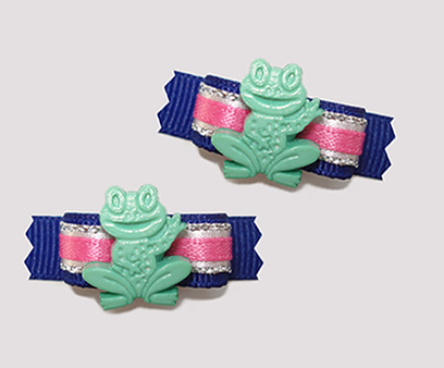 "#T8819 - 3/8"" Dog Bow - Ribbit! Cute Froggy, Blue/Silver/Pink"