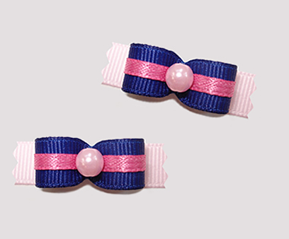 "#T8820 - 3/8"" Dog Bow - Adorable Blue with Pink"