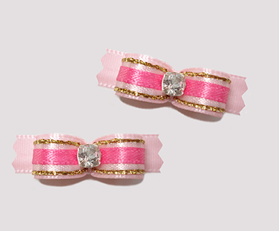 "#T8824 - 3/8"" Dog Bow - Gorgeous Princess Pinks, Rhinestone"