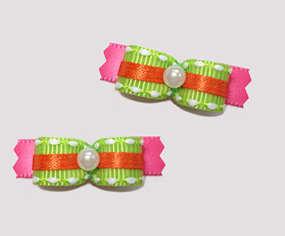 "#T8826 - 3/8"" Dog Bow - Summer Brights, Neon Green on Hot Pink"