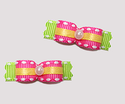 "#T8828 - 3/8"" Dog Bow - Summer Brights, Hot Pink on Neon Green"