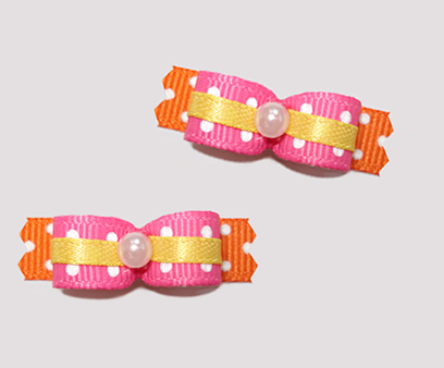 "#T8829 - 3/8"" Dog Bow - Summer Brights, Lots of Dots!"