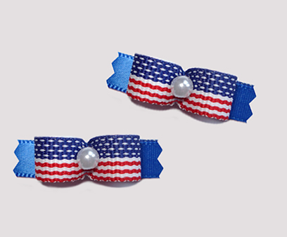 "#T8831 - 3/8"" Dog Bow - Stars & Stripes on Blue, Faux Pearl"