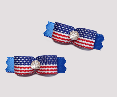 "#T8833 - 3/8"" Dog Bow - Stars & Stripes on Blue, Rhinestone"