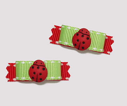 "#T8845 - 3/8"" Dog Bow - Cute Little Ladybug, Green/Red"