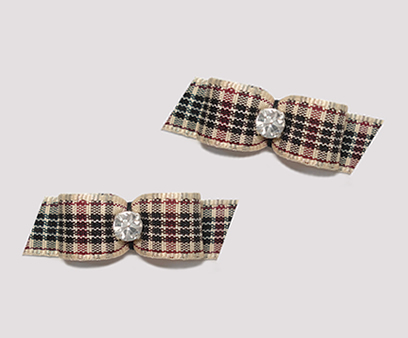 "#T8850 - 3/8"" Dog Bow - Designer Plaid, Rhinestone"