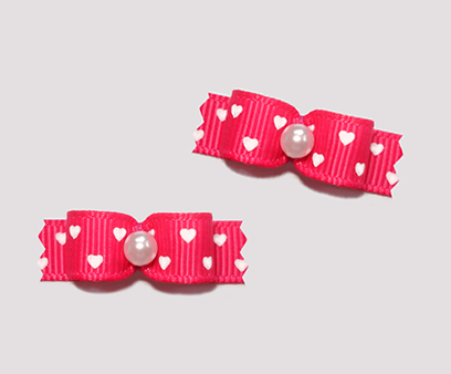 "#T8854- 3/8"" Dog Bow - Sweet Hearts, Hot Pink, Tiny White Hearts"