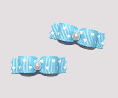 "#T8855 - 3/8"" Dog Bow - Sweet Hearts, Blue, Tiny White Hearts"