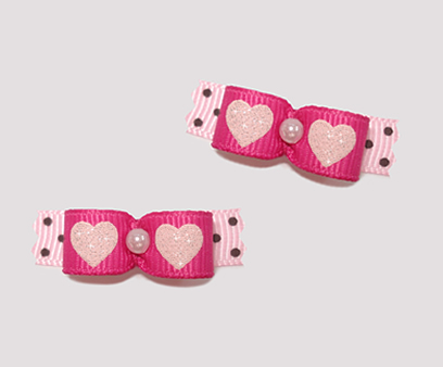 "#T8856 - 3/8"" Dog Bow - Sweetheart Bow, Pink Sparkle Hearts"
