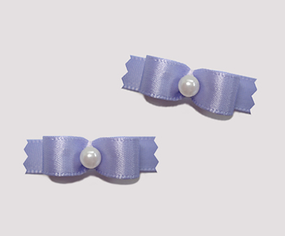 "#T8859 - 3/8"" Dog Bow - Satin, Sweet Lavender with Faux Pearl"