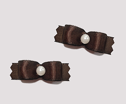 "#T8860 - 3/8"" Dog Bow - Satin, Chocolate Brown with Faux Pearl"