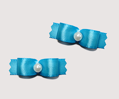 "#T8863 - 3/8"" Dog Bow - Satin, Ocean Blue with Faux Pearl"