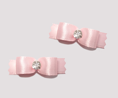 "#T8868 - 3/8"" Dog Bow - Satin, Soft Baby Pink with Rhinestone"
